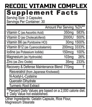 REcoil - Recovery & Immunity Vitamin Complex - Supplement Facts