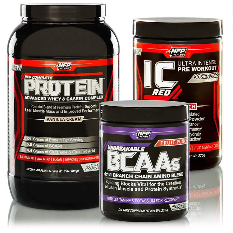 Fundamental Supplementation for the active lifestyle. Perform at your absolute best! Complete with three powdered drink mixes. NFP Complete Protein, IC Red Pre Workout and Unbreakable BCAAs.