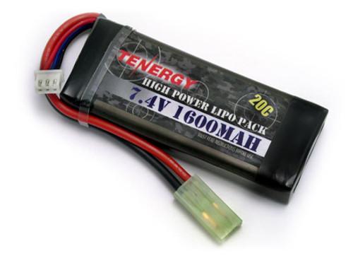 Tenergy LiPO 7.4V 1600mAh 20C Airsoft Battery Pack-31604