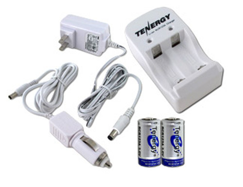 2 RCR123A 3.0V (3.2V NOM) 750mAh LiFePO4 Rechargeable Batteries with a Smart Charger