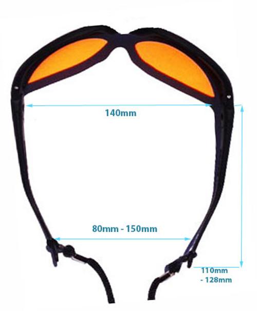 LG-005N 190-532nm OD 7+ Laser Safety Glasses Dimensions - Adjustable Legs