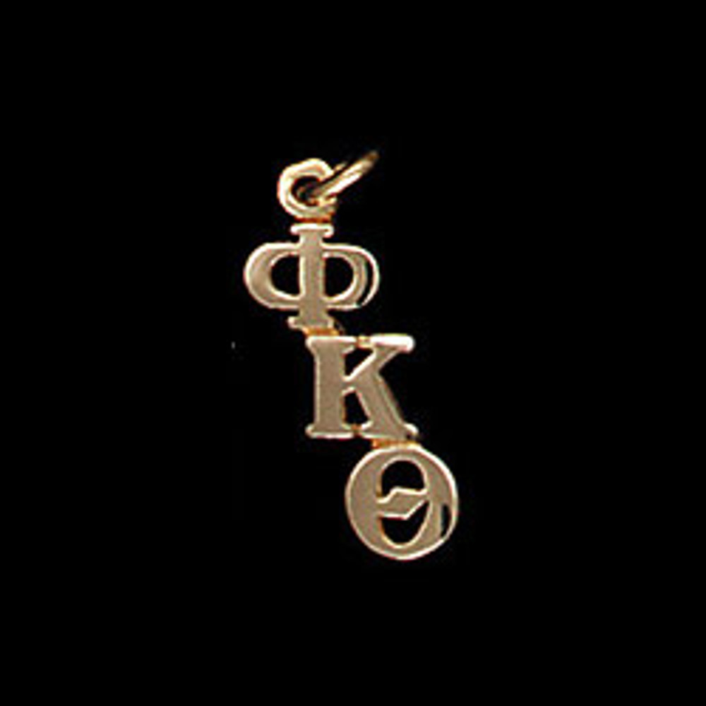14 kt Gold Diagonal Letters Greek Lavalier