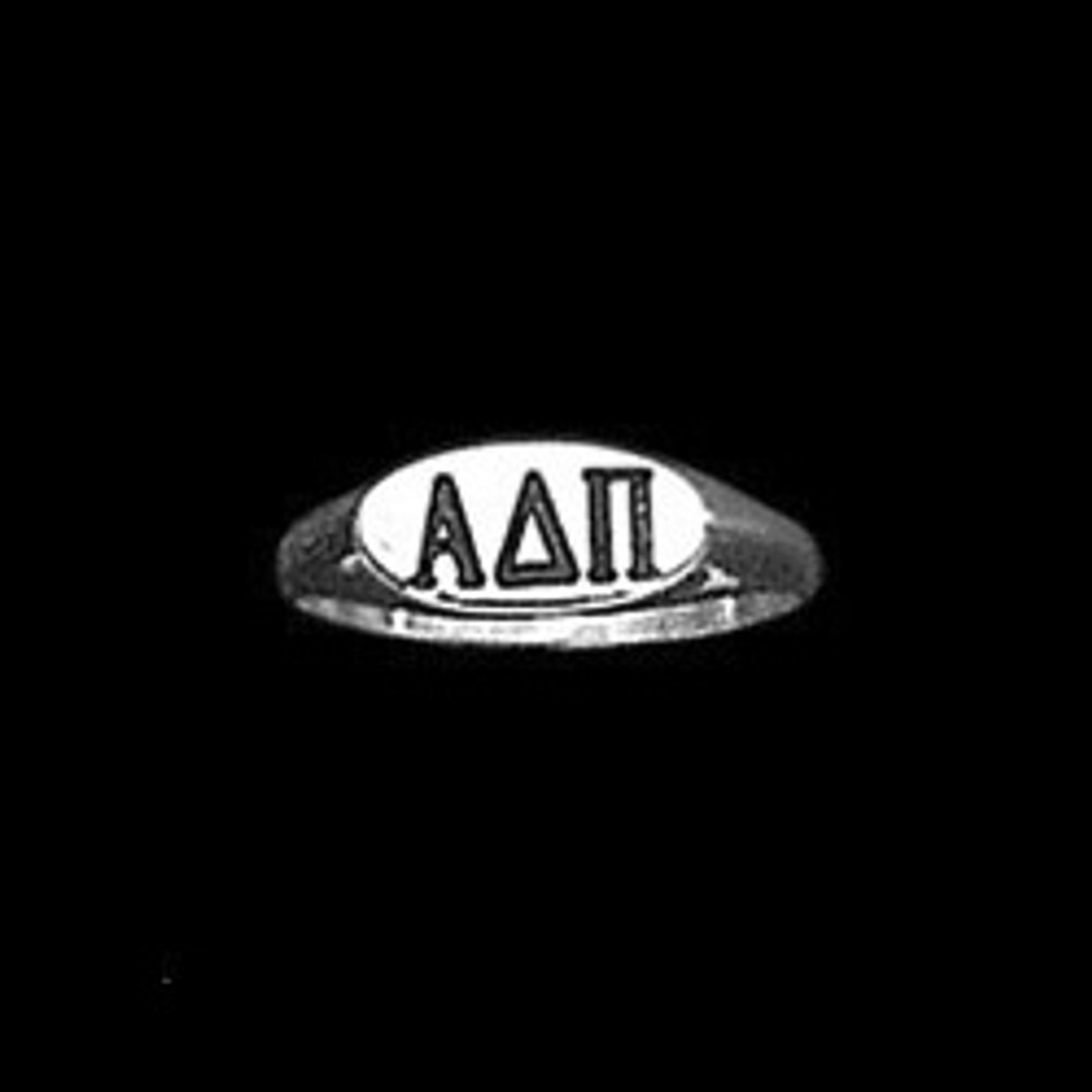 Sterling Silver Sorority Deep Cut Ring with Antique Letters Style B