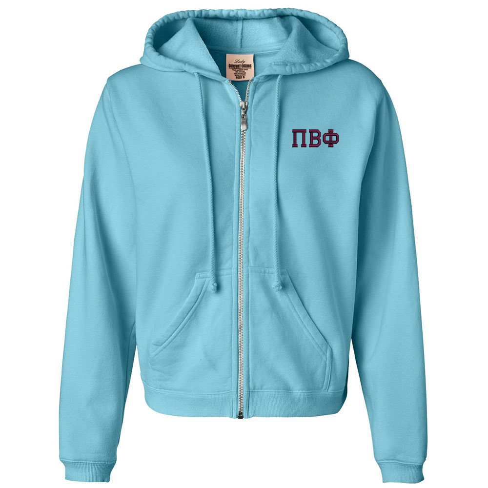 Sorority Embroidered Comfort Colors Full Zip Hoodie