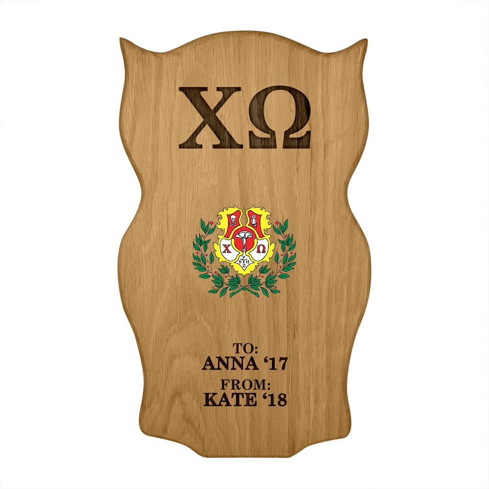 Chi Omega Owl Paddle Plaque