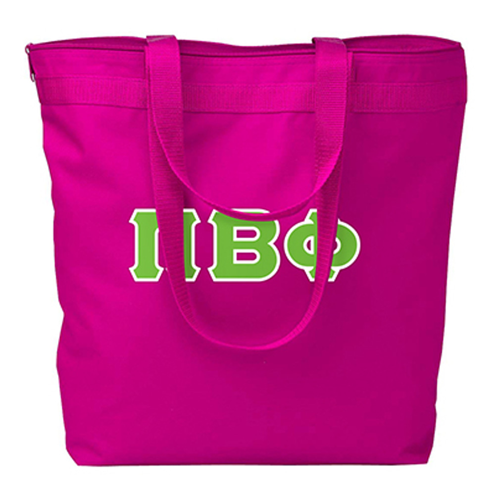 Zipper Closure Tote Bag with Sewn-On Letters