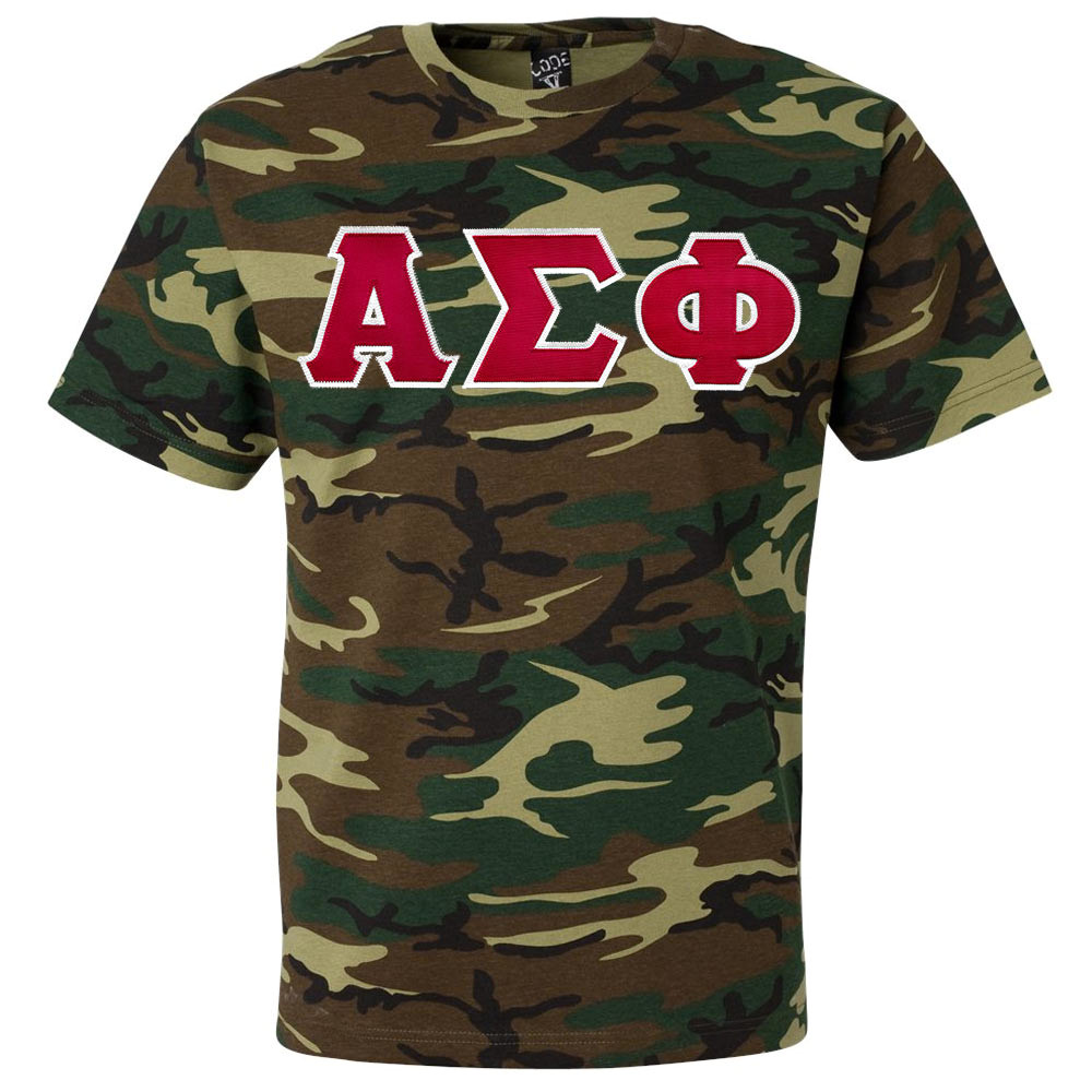 Fraternity & Sorority Lettered Camouflage T-shirt