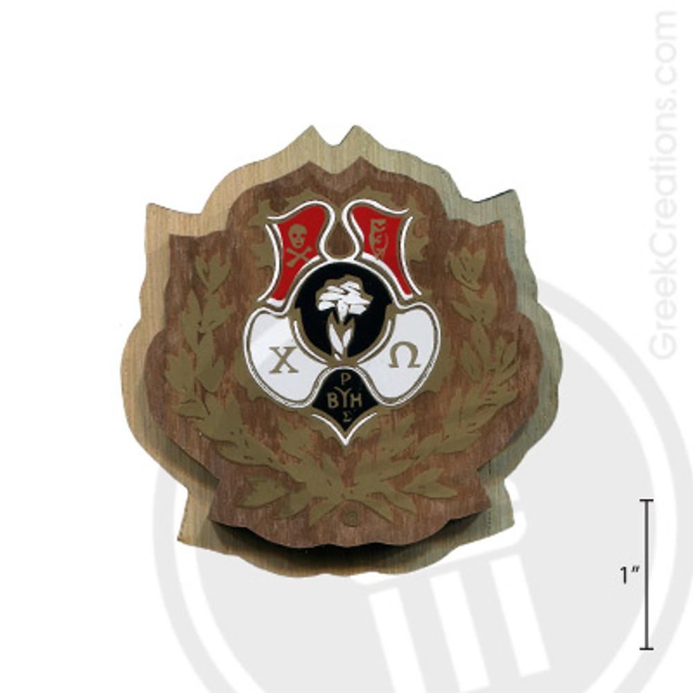 Chi Omega Large Raised Wooden Crest