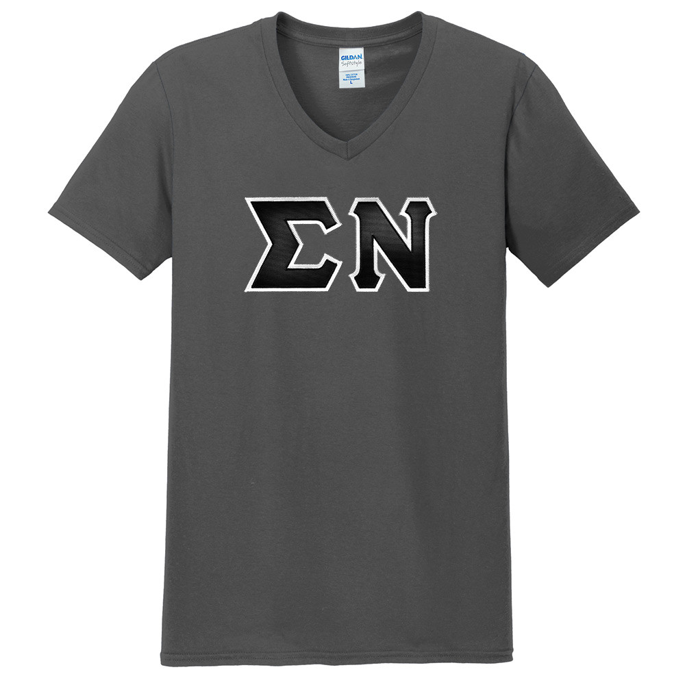Fraternity & Sorority Lettered Gildan Softstyle V-Neck Tee