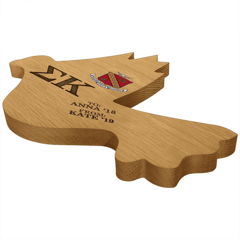 Sigma Kappa Dove Paddle Plaque Side