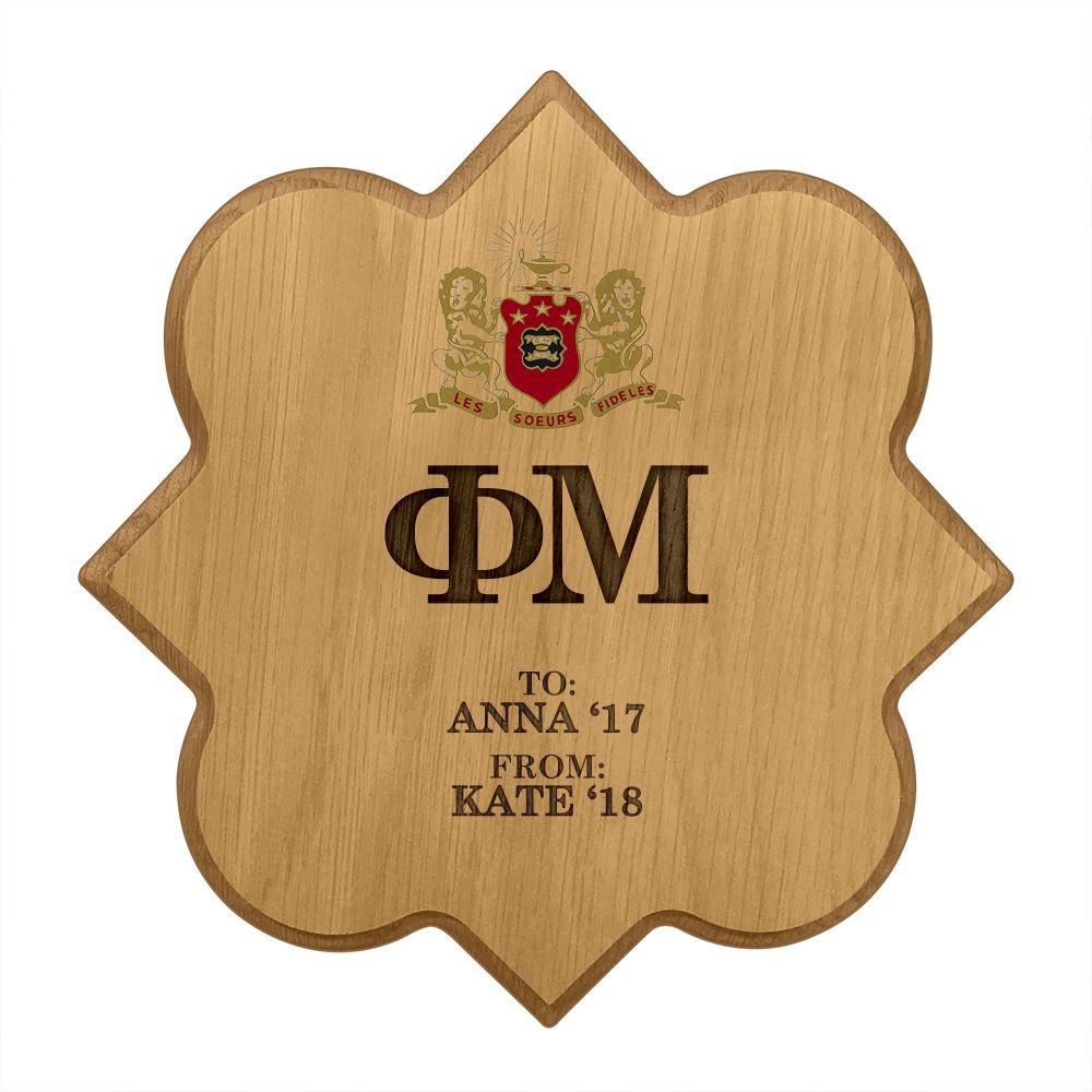 Phi Mu Quatrefoil Paddle Plaque