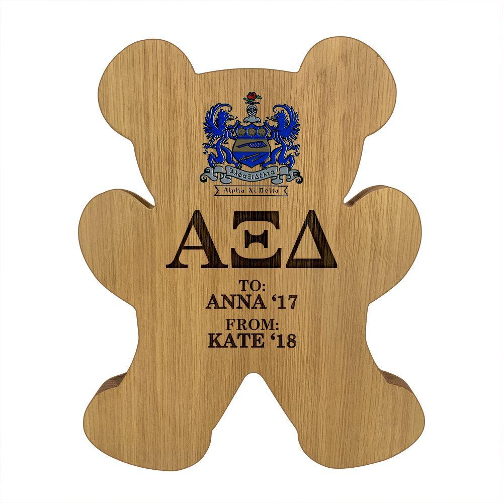 Alpha Xi Delta Engraved Bear Plaque