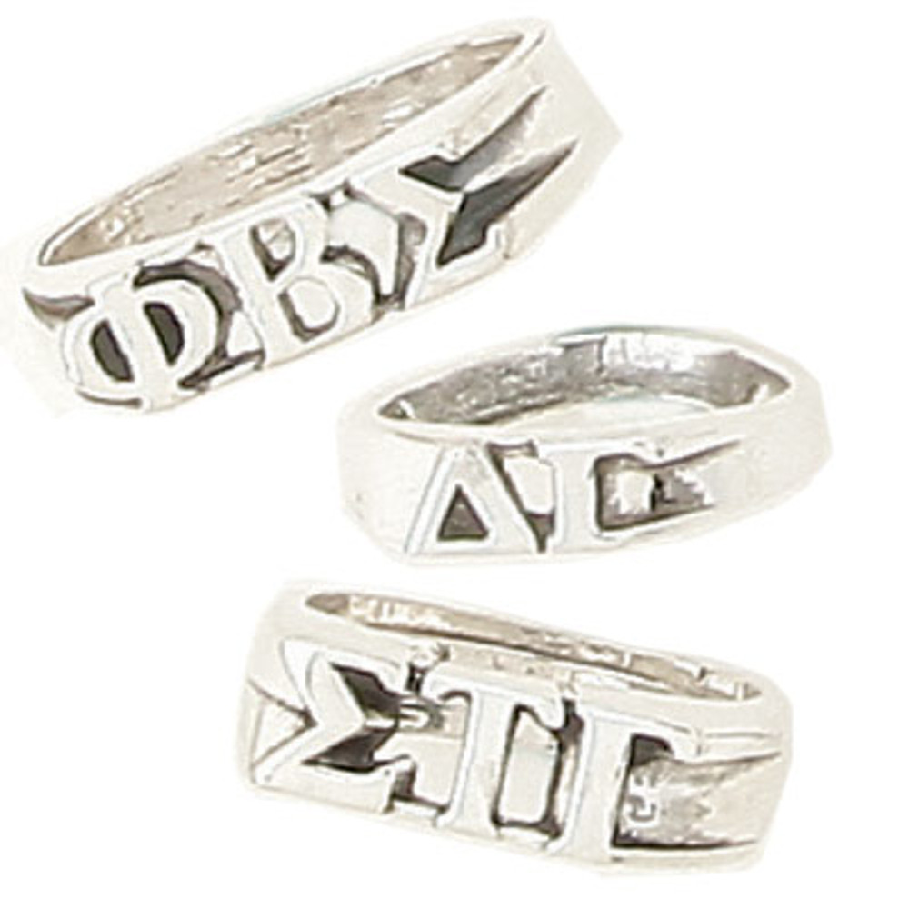 Sterling Silver Sorority Block Ring W