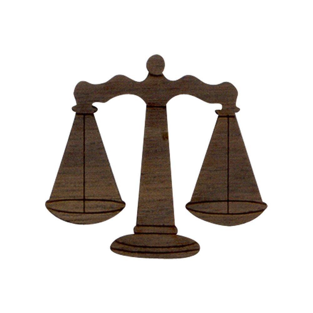 Wooden Scales of Justice Symbol