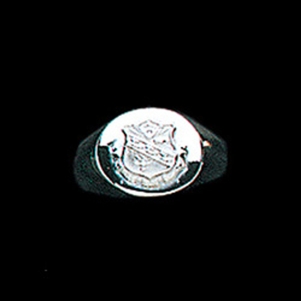 Sterling Silver Sorority Round Base Ring with Crest