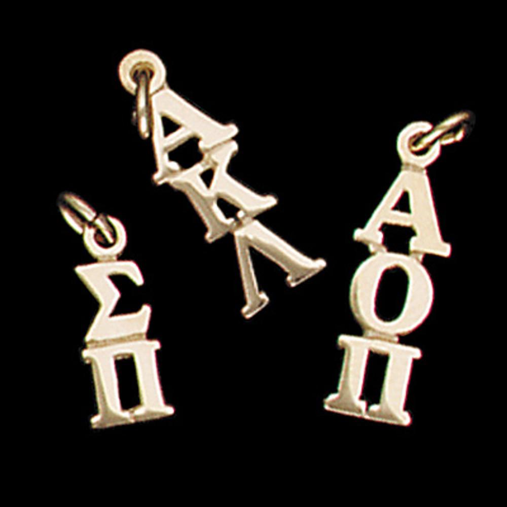 14 kt Gold Vertical Letters Greek Lavalier