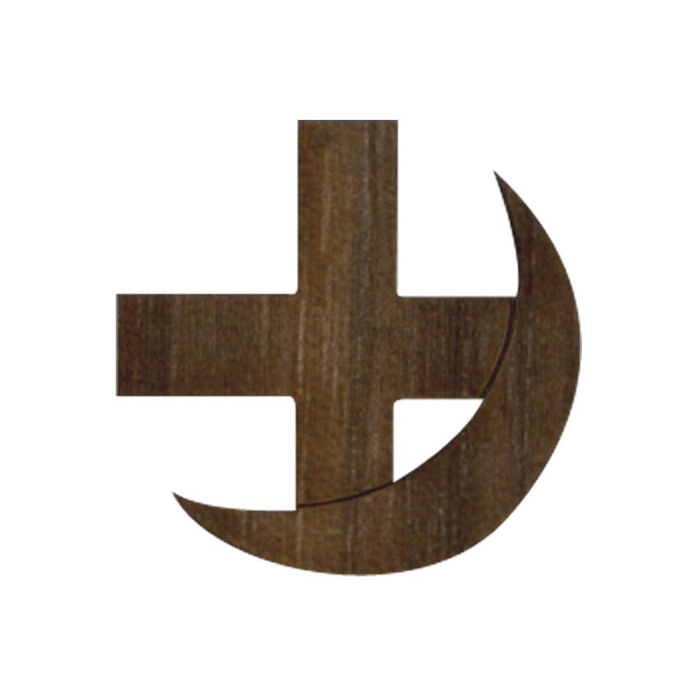 Wooden Cross and Crescent Symbol