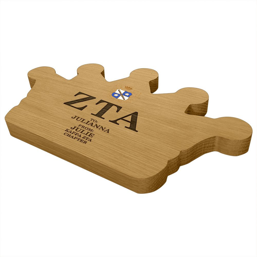 Zeta Tau Alpha Crown Paddle Plaque Side