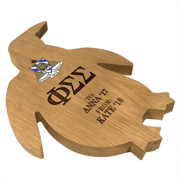Phi Sigma Sigma Penguin Paddle Plaque Side