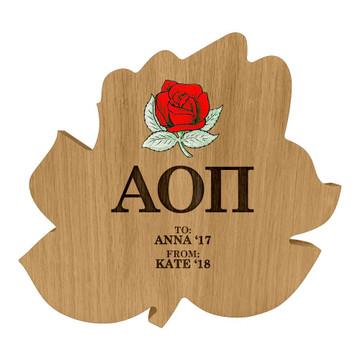 Alpha Omicron Pi Rose Paddle Plaque