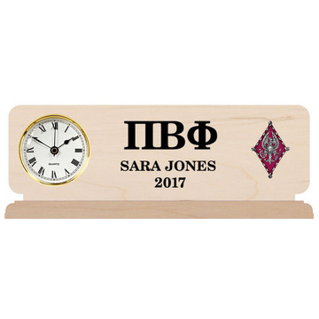Fraternity & Sorority Engraved Natural Finish Clock