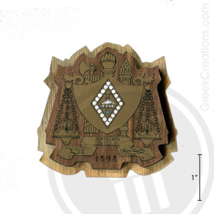 Zeta Beta Tau Large Raised Wooden Crest