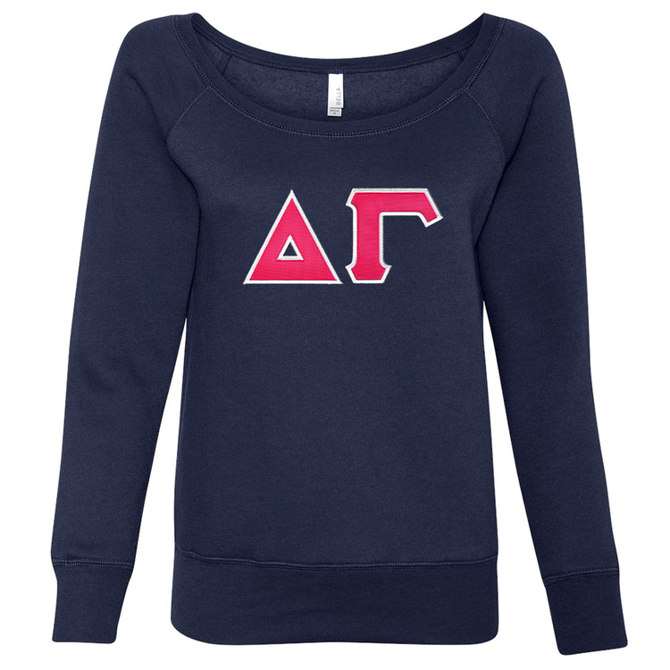 Sorority Lettered Bella Slouchy Wide Neck Sweatshirt