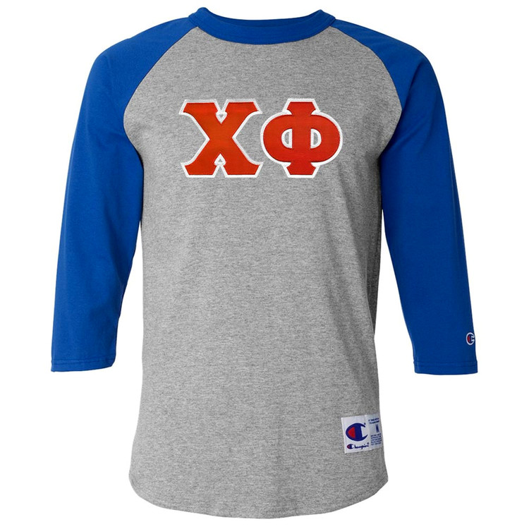 Fraternity & Sorority Lettered Champion Raglan 3/4 Sleeve Jersey