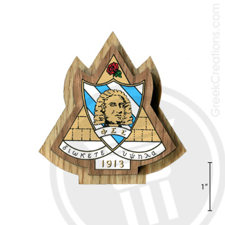 Phi Sigma Sigma Large Raised Wooden Crest