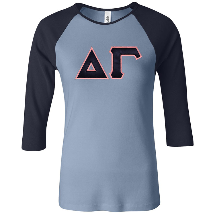 Sorority Lettered Bella 3/4 Sleeve Raglan T-Shirt