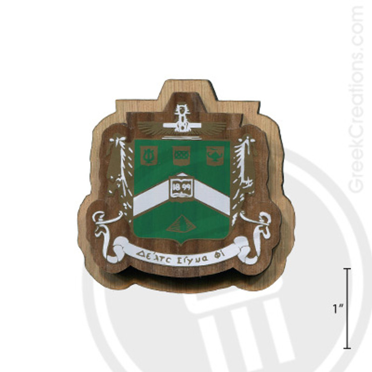 Delta Sigma Phi Large Raised Wooden Crest
