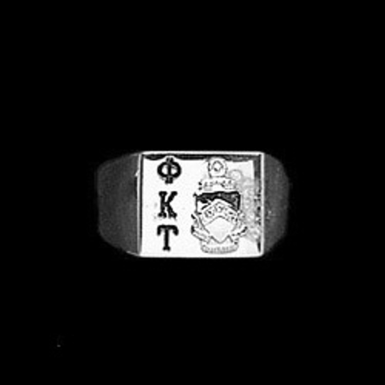 Sterling Silver Fraternity Square Base Ring with Deep Cut Letters Style A