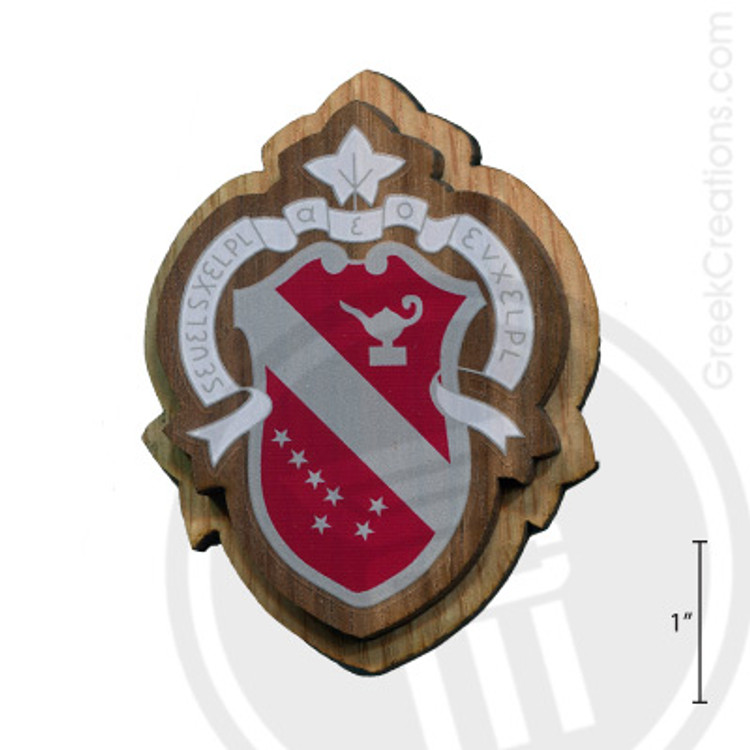 Alpha Phi Large Raised Wooden Crest