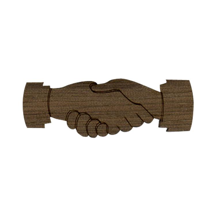 Wooden Hand Shake Symbol