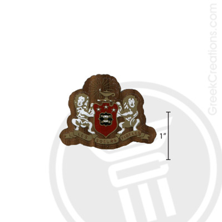 Phi Mu Small Raised Wooden Crest