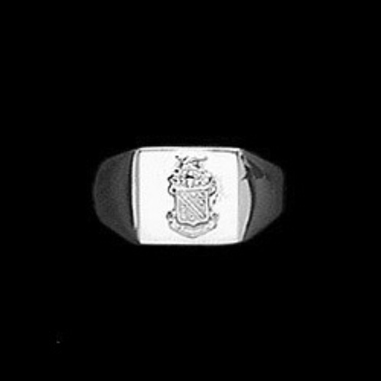 Sterling Silver Fraternity Rectangle Base Ring with Crest