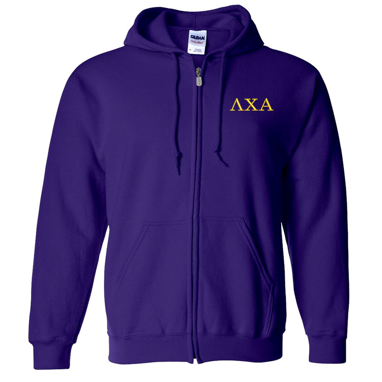 Fraternity & Sorority Embroidered Gildan Full Zip Hooded Sweatshirt