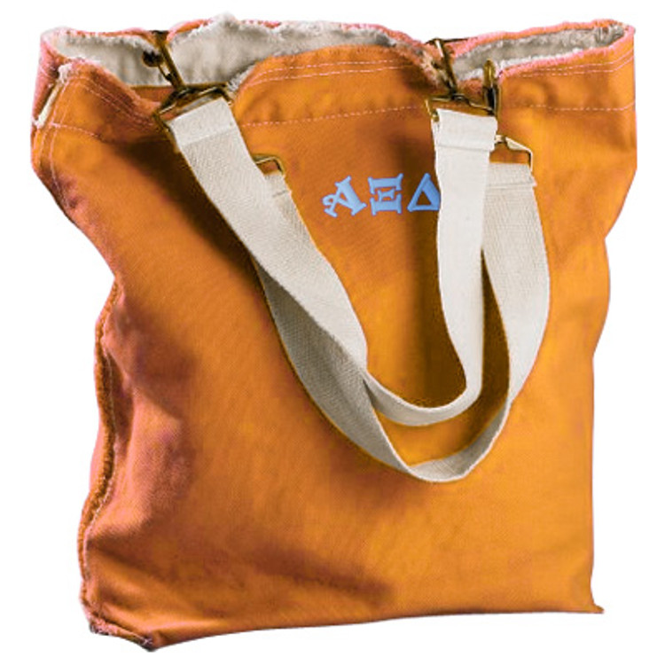 Authentic Pigment Direct-Dyed Raw-Edge Tote with Embroidery