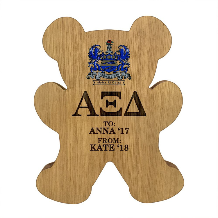Alpha Xi Delta Bear Paddle Plaque