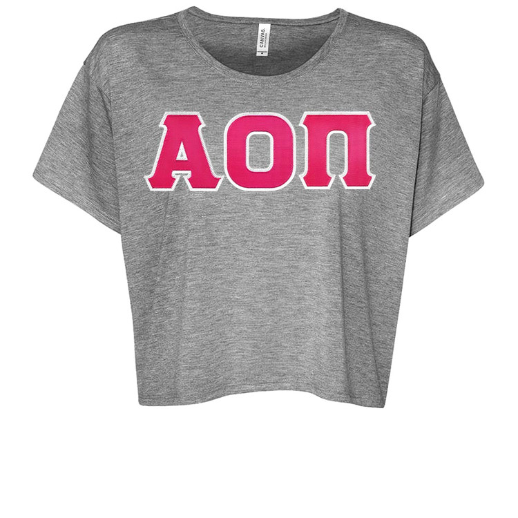 Sorority Lettered Bella Boxy Cropped Top