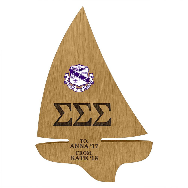 Sigma Sigma Sigma Sailboat Paddle Plaque