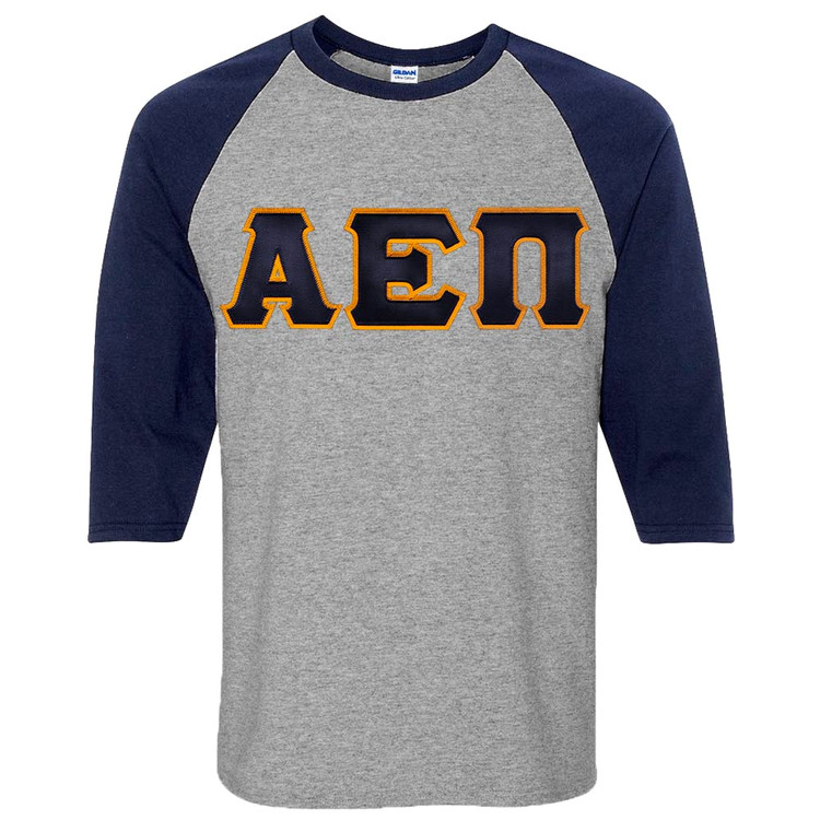 Fraternity & Sorority Lettered 3/4 Sleeve Raglan T-Shirt