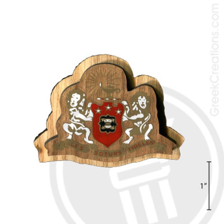 Phi Mu Large Raised Wooden Crest