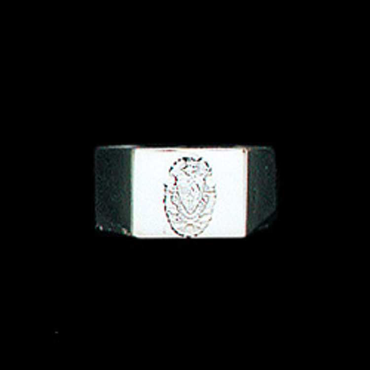 Sterling Silver Fraternity Square Base Ring with Crest