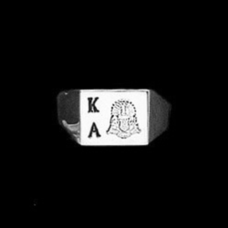 Sterling Silver Fraternity Square Base Ring with Deep Cut Letters