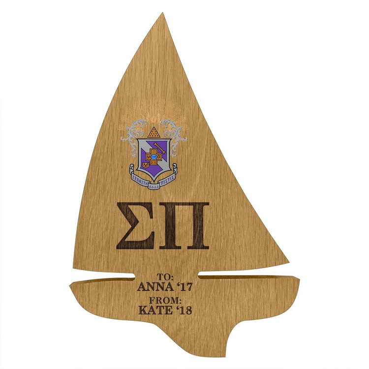 Sigma Pi Sailboat Paddle Plaque
