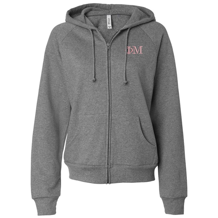 Sorority Embroidered Bella Full Zip Hooded Sweatshirt