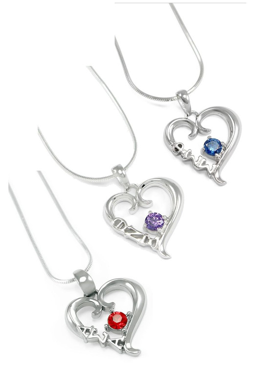 Sterling Silver Heart Pendant w/ Crystal