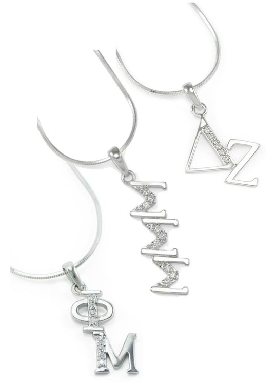 Sterling Silver Diagonal Drop w/ Simulated Diamonds