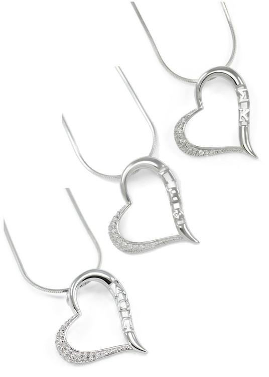 Angel Heart Pendant w/ Simulated Diamonds